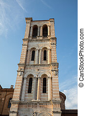 Bell tower of San Giorgio's cathedral, Ferrara, Italy