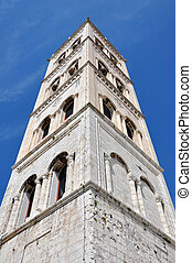Bell tower of the Anastasia cathedral in Zadar, Croatia -...