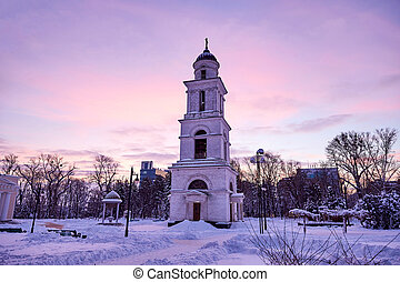 Bell Tower of the cathedral at sunset