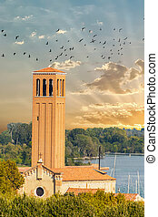 Bell Tower on Coast of Venice