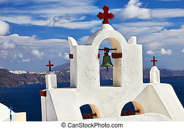 Bell tower Santorini - Bell tower of church against the...