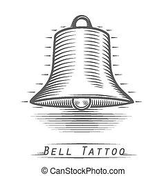 Bell vintage tattoo. Vector illustration