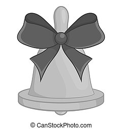 Bell with bow icon, black monochrome style