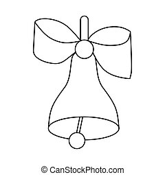 Bell with bow icon, outline style