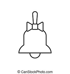 Bell with bow line icon