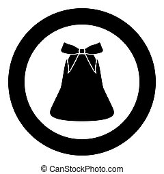 Bell with bow ribbon black icon in circle