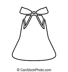 Bell with bow ribbon it is black icon .