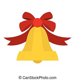 Bell with red bow icon, flat style