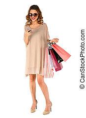 bella donna, acquirente, app, smartphone, usando