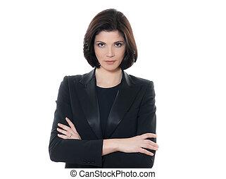 bella donna, affari, braccio attraversarono, serio, ritratto, caucasico