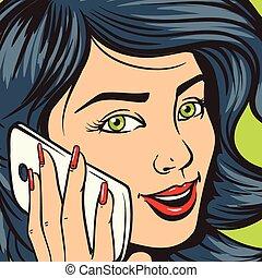 bella donna, arte, giovane, pop, telefono, vettore