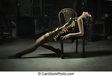 bella donna, arte, oro, foto, multa, vestire