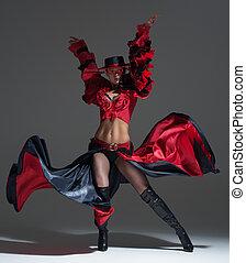 bella donna, ballo, studio, vestire, rosso
