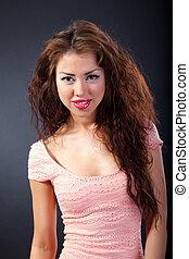 bella donna, bellezza, riccio, portrait., hair.
