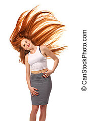 bella donna, bellezza, sano, giovane, lungo, isolato, portrait., fondo, hair., ragazza, bianco rosso
