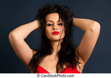 bella donna, brunetta, rosso, biancheria intima