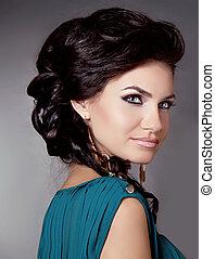 bella donna, capelli styling, girl., brunetta, hair., ...
