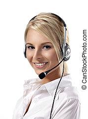 bella donna, centro, headset., rappresentante, chiamata, sorridente