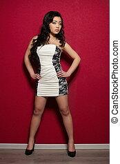 bella donna, cinese, parete, brunetta, proposta, interno, sexy, modello, vestire, bianco rosso