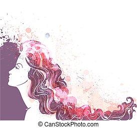 bella donna, colorito, giovane, schizzi, ritratto