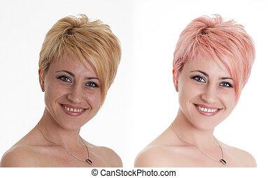 bella donna, computer, retouching., secondo, faccia, retouch, ritratto, prima