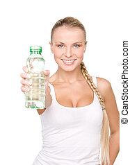 bella donna, con, bottiglia acqua