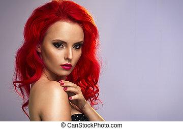 bella donna, con, sano, capelli lunghi
