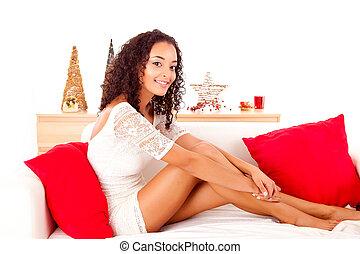 bella donna, -, concetto, africano, natale