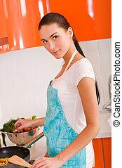 bella donna, cottura, cucina, giovane