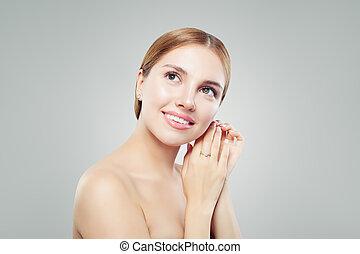bella donna, diamante, fondo, orecchini, ritratto, bianco, sorridente, anello