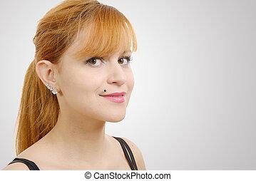bella donna, diritto, capelli lunghi, rosso