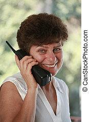 bella donna, dof., poco profondo, parlare, telefono., maturo, ritratto