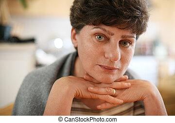 bella donna, dof., poco profondo, portrait., maturo, primo piano