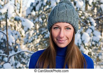 bella donna, esterno, inverno, giovane