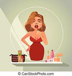 bella donna, fare, truccare, tinta, labbra, in, specchio, riflessione., bellezza, concetto, isolato, appartamento, cartone animato, disegno, illustrazione