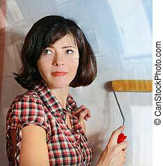 bella donna, fare, uno, riparazione, preparare, appendere, carta da parati