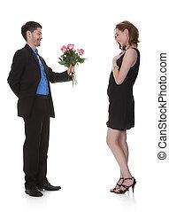 bella donna, fiore, uomo, offerta