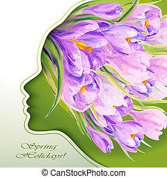 bella donna, fiori, giovane