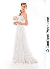bella donna, fiori, matrimonio, vestito bianco, mazzo