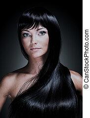 bella donna, fondo., giovane, lungo, isolato, elegante, nero, hair., ritratto, baluginante