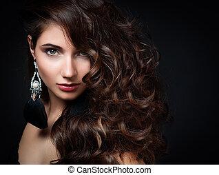 bella donna, gioielleria, beauty., sera, make-up., foto, moda