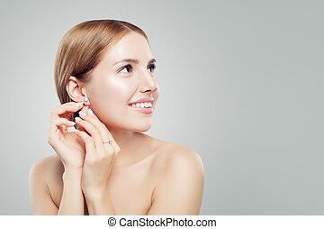 bella donna, gioielleria, bellezza, anello diamante, model., orecchini, glamourous, ritratto, moda