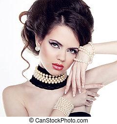 bella donna, gioielleria, perle, isolato, fondo., moda,...