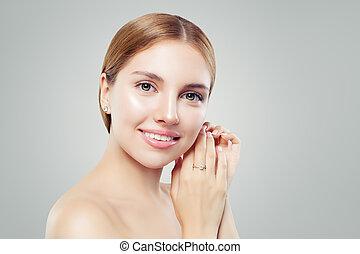 bella donna, gioielleria, ragazza, lussuoso, diamante, model., orecchini, anello, sorridente