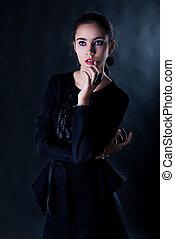 bella donna, giovane, aristocratico, carino, ritratto