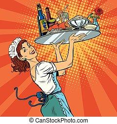 bella donna, giovane, cameriera, ristorante