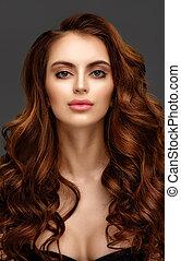 bella donna, giovane, capelli lunghi, elegante, ritratto, baluginante, rosso