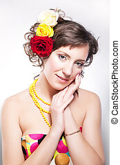 bella donna, -, giovane, closeup, primaverile, fiori, ragazza, felice