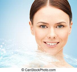 bella donna, giovane, faccia, acqua, schizzo