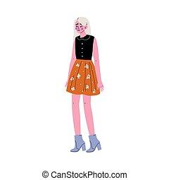bella donna, giovane, illustrazione, moda, vettore, biondo, vestiti